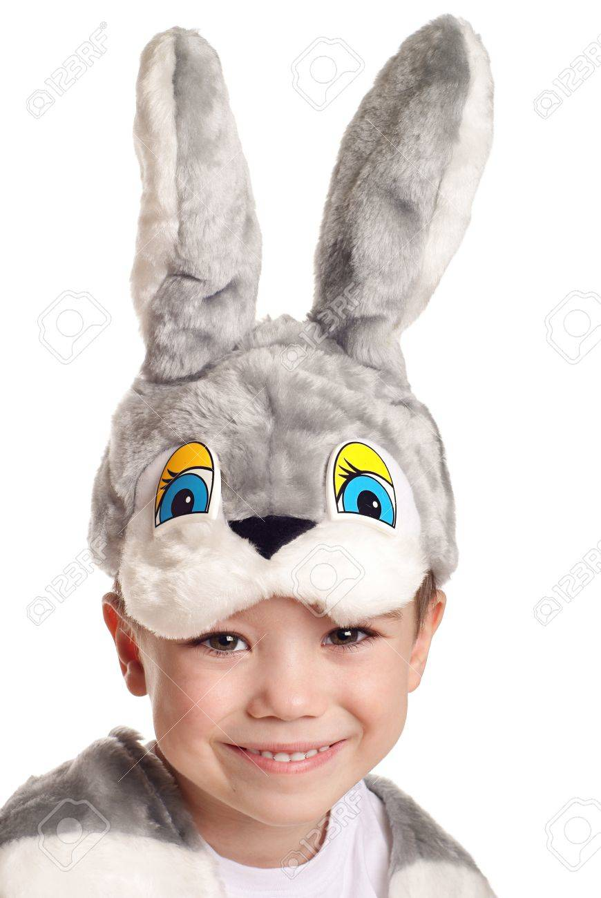 Close-up portrait of small boy in hare costume isolated on white background Stock Photo - 8436076