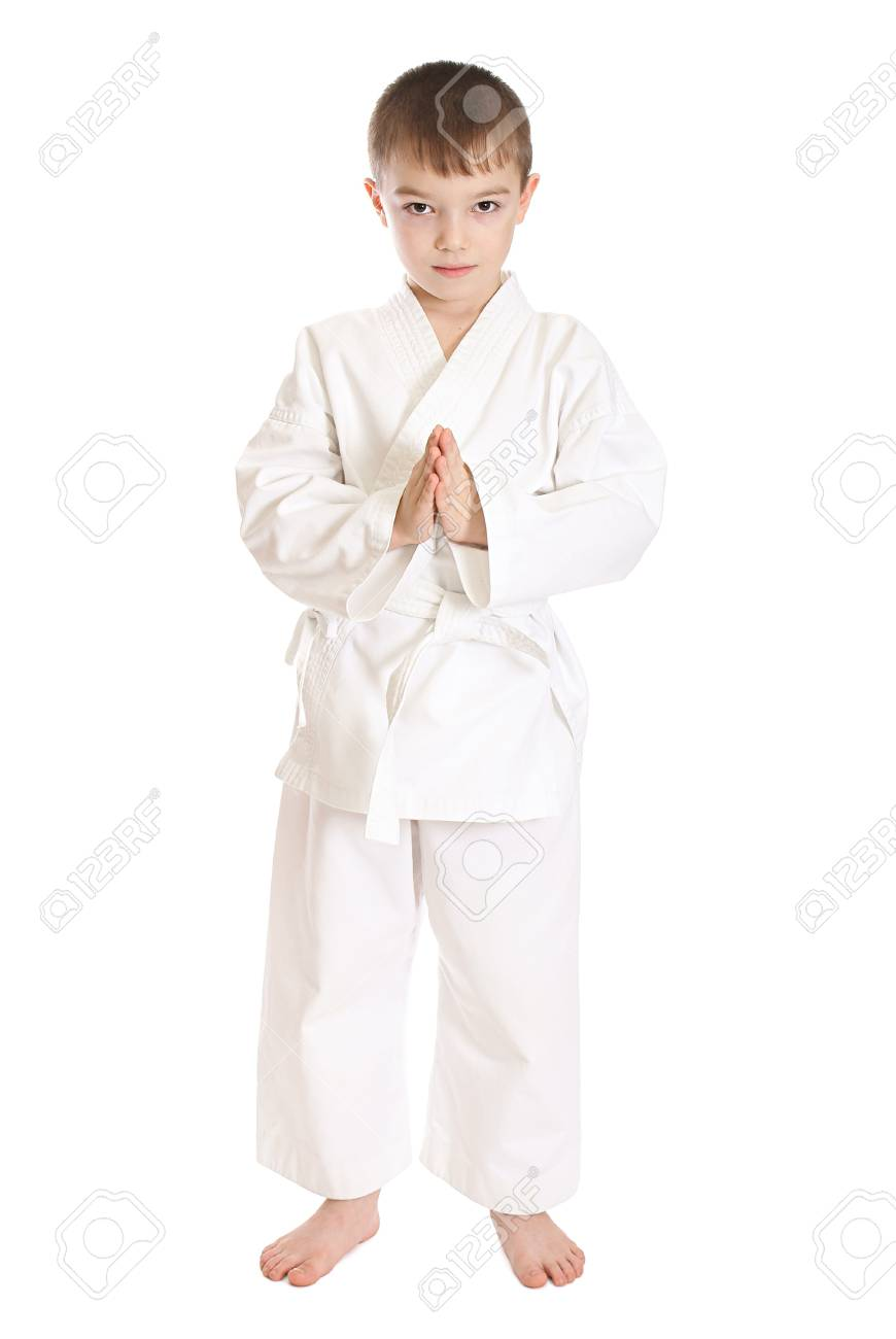 Young boy in kimono over pure white background Stock Photo - 8930074
