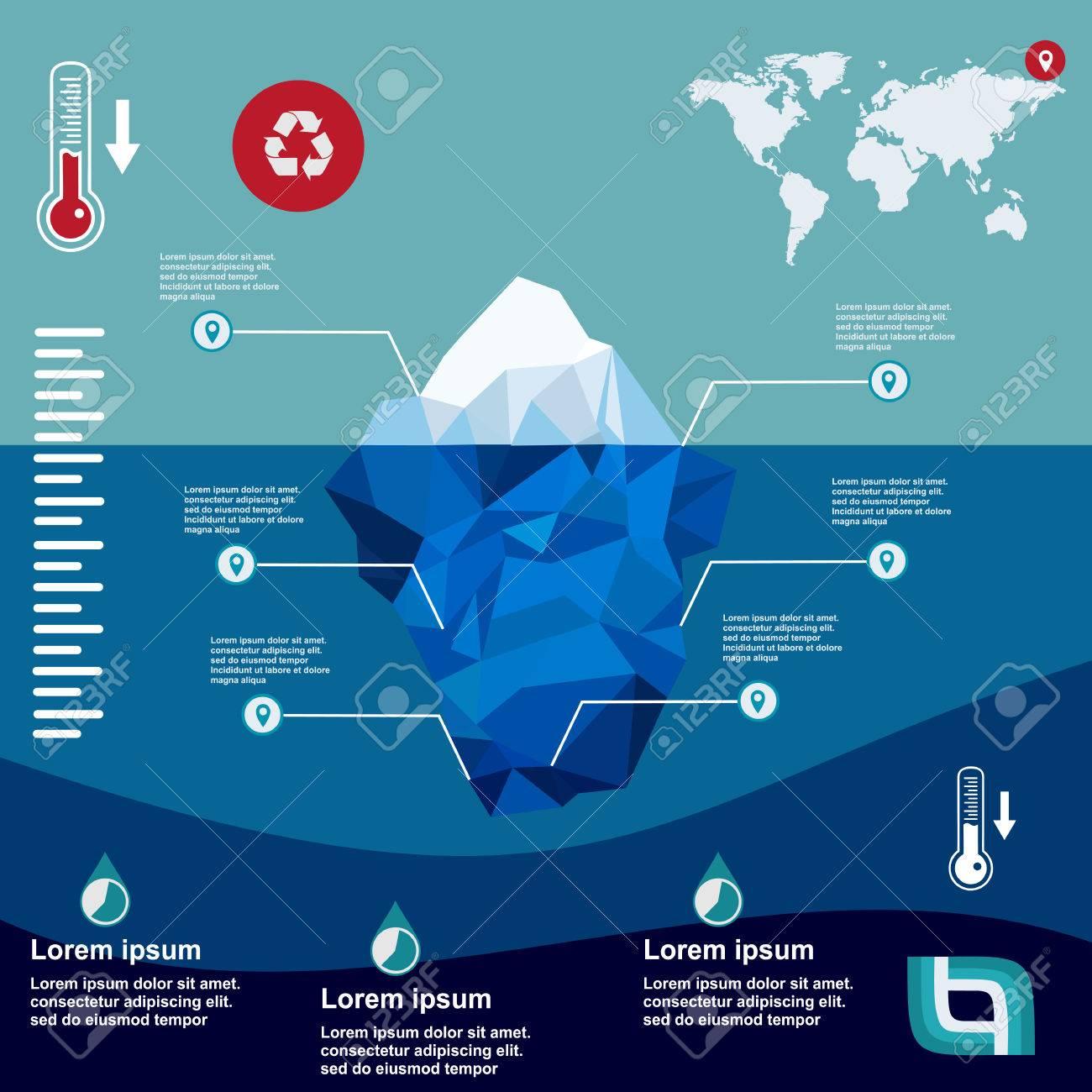 Iceberg, Vector, Ilustración, Hielo, Agua, Océano, Submarino, Plano ...