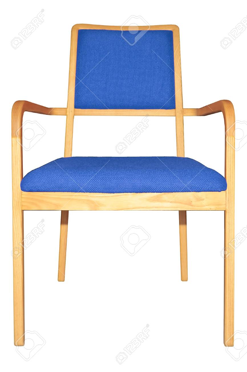 Modern Wooden Armchair With Blue Cushion Isolated
