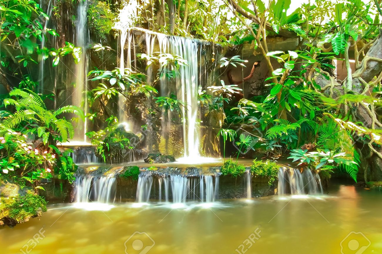 Beautiful Tropical Man Made Garden Waterfalls Stock Photo   10640859