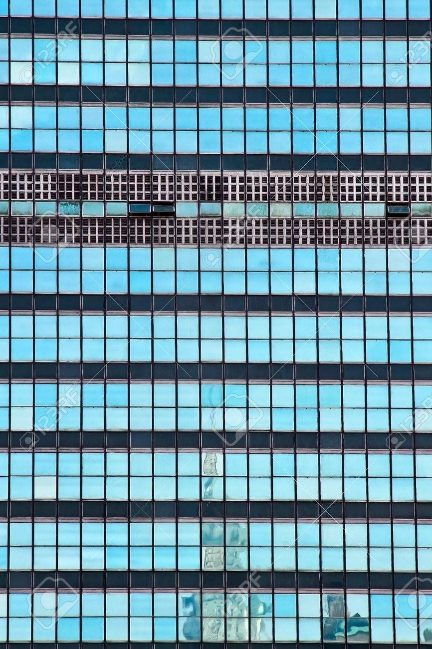 The United Nations building glass window with Chrysler building reflection  in New York City Stock Photo - 10663281