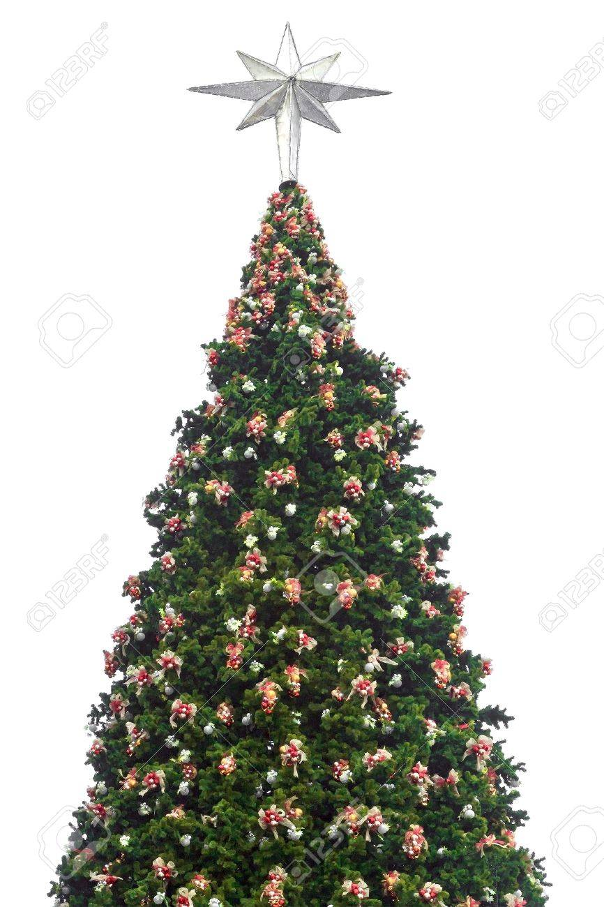 d4d7121c324c Christmas tree with decorations and silver star at the top white background  Stock Photo - 11640125