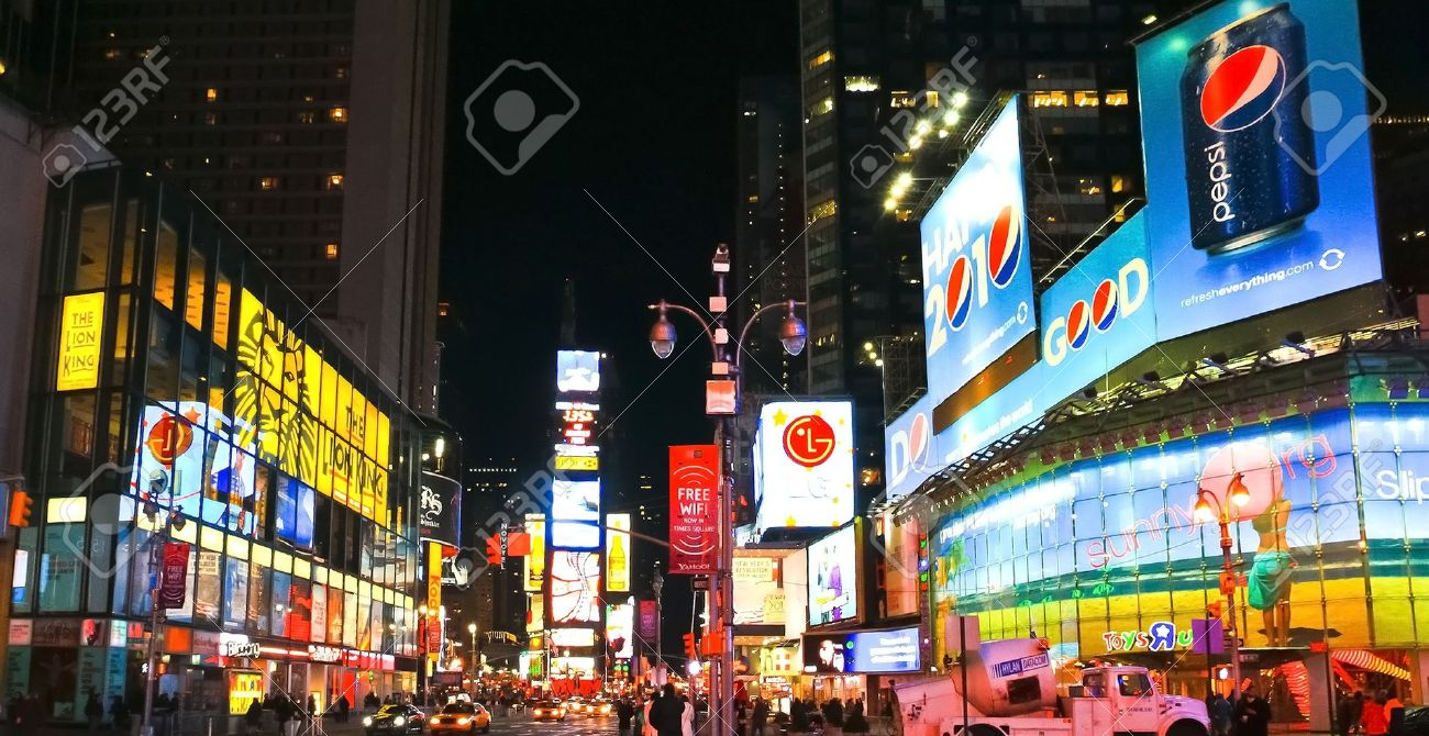 NEW YORK CITY - JAN 21: Times Square, a busy tourist intersection, featured with Broadway Theaters and animated LED signs is a symbol of New York City and the United States on January 21, 201 Stock Photo - 12272338