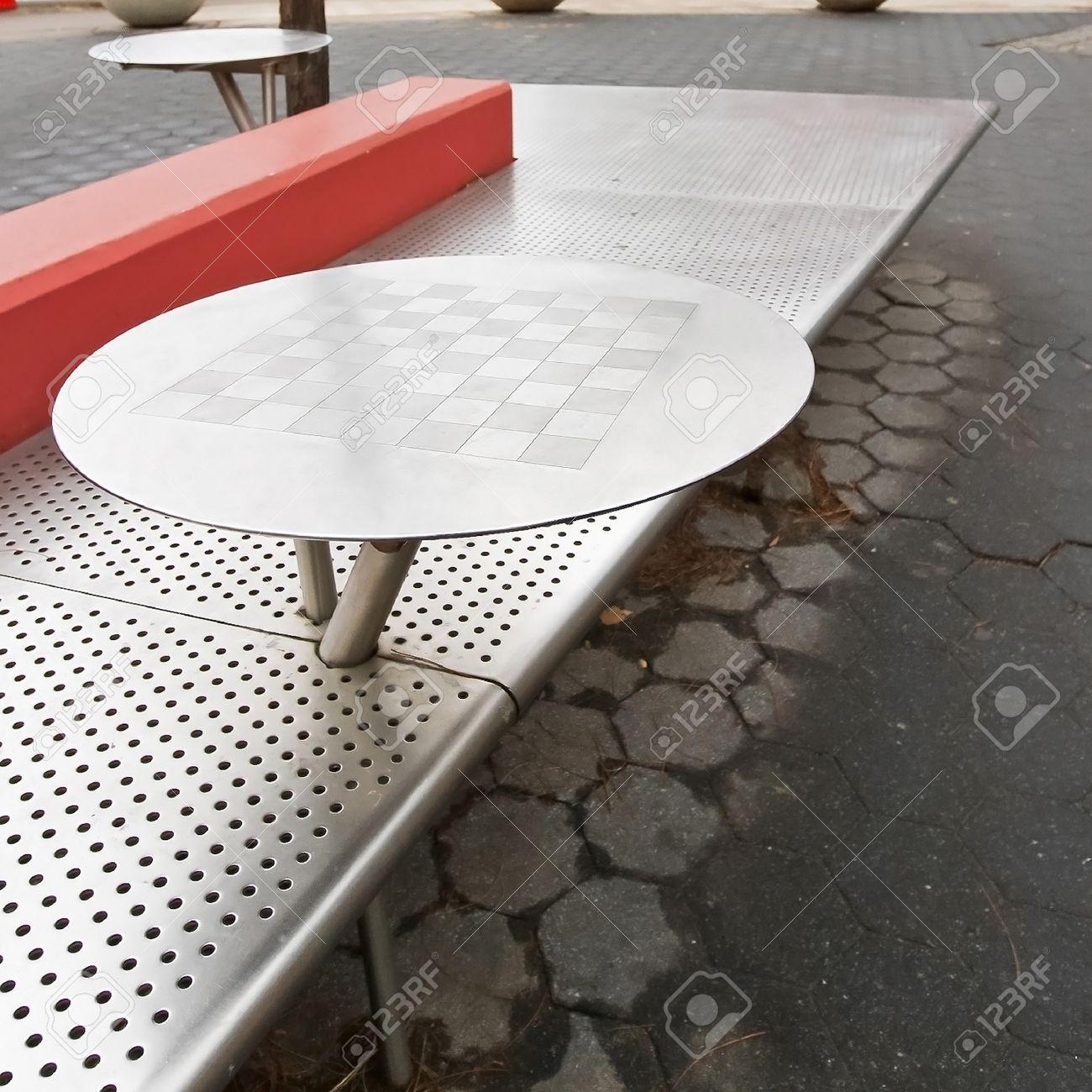 Table Dextérieur Inox Plaque En Acier Déchecs Et Le Banc Banque D