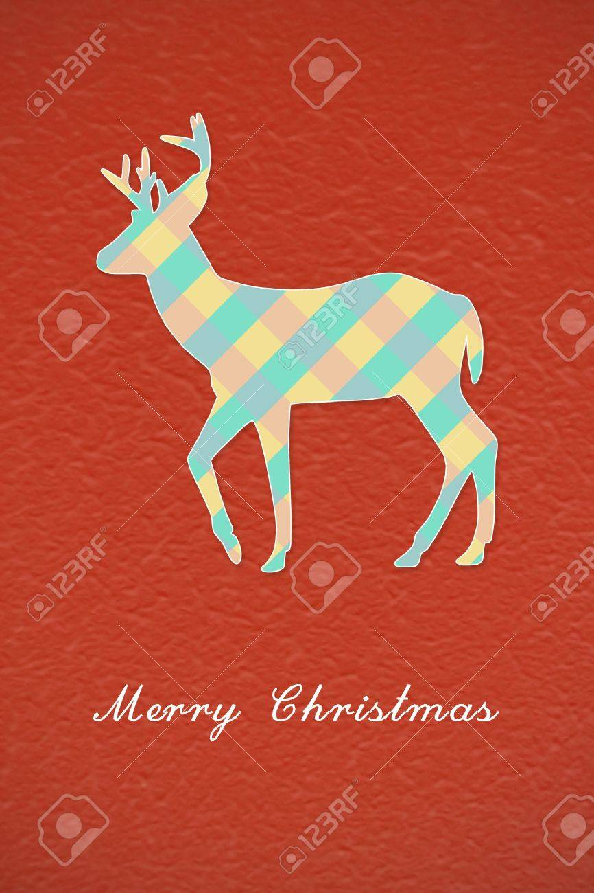 Colorful Christmas reindeer on red background Stock Photo - 16833436