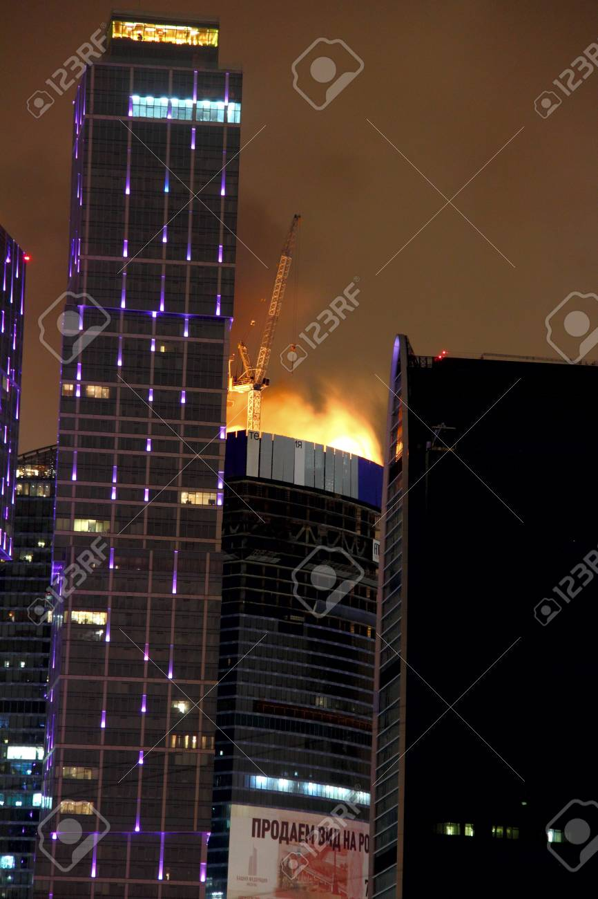Fire  High-rise building  Moscow  Stock Photo - 13226304