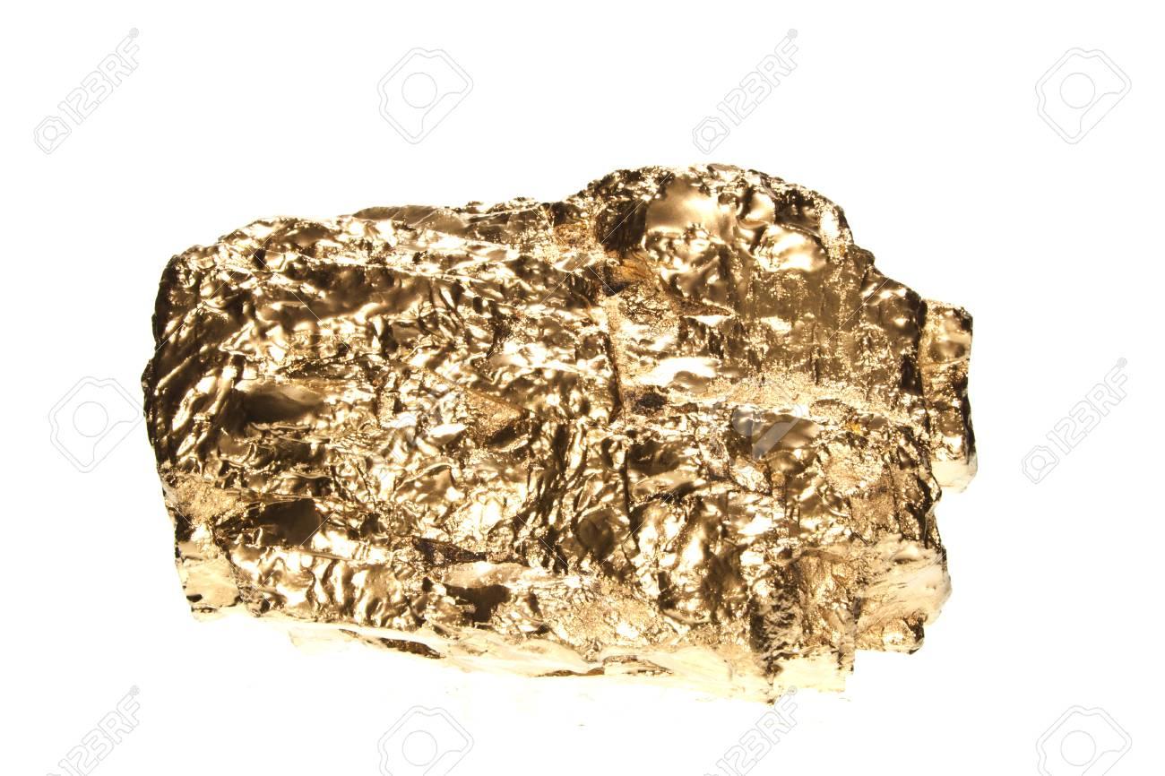 Golden Stone Isolated On White Background