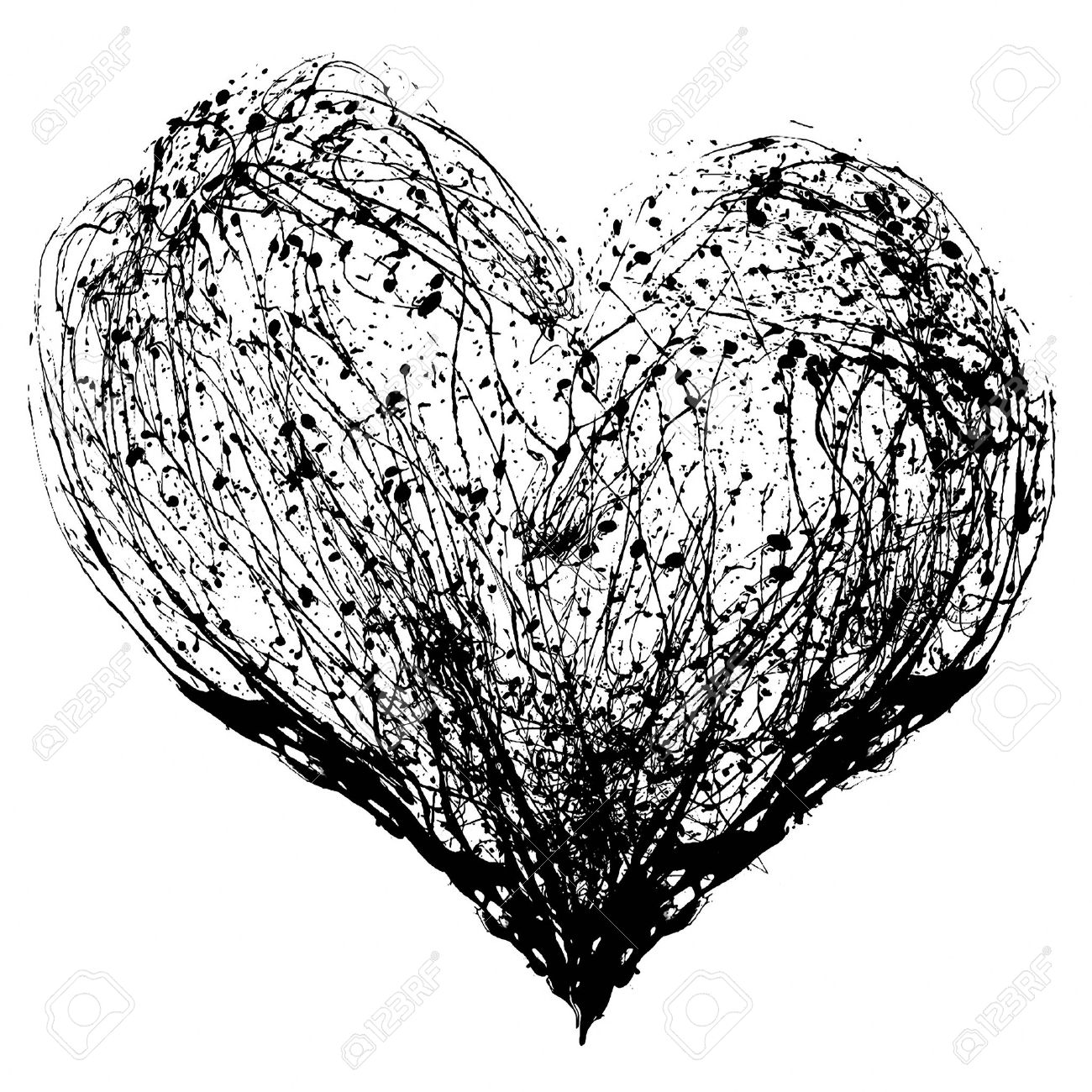 Drawings Of Hearts In Black And White