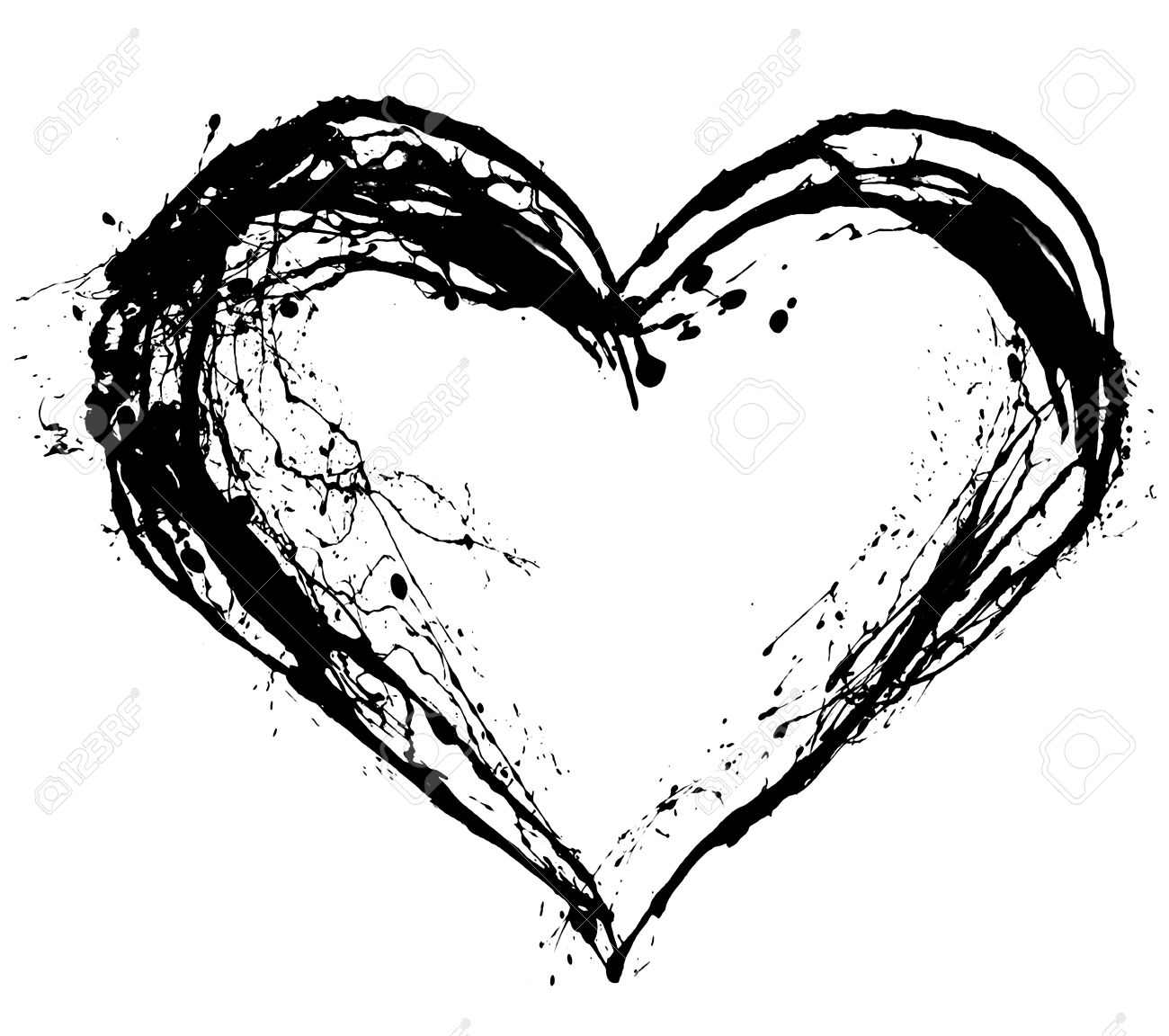Abstract Valentine Black Heart On White Background Stock Photo ...