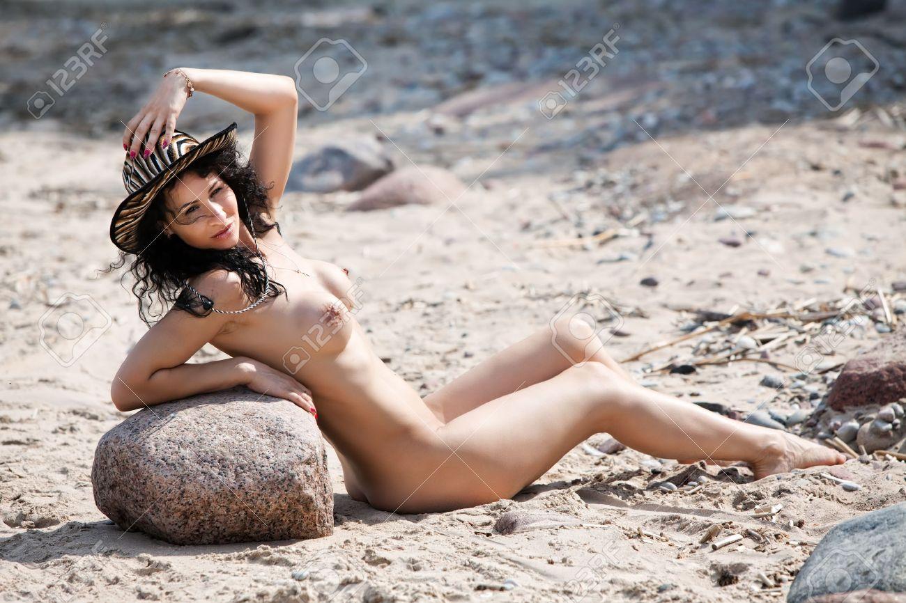 Nude sunbathing woman