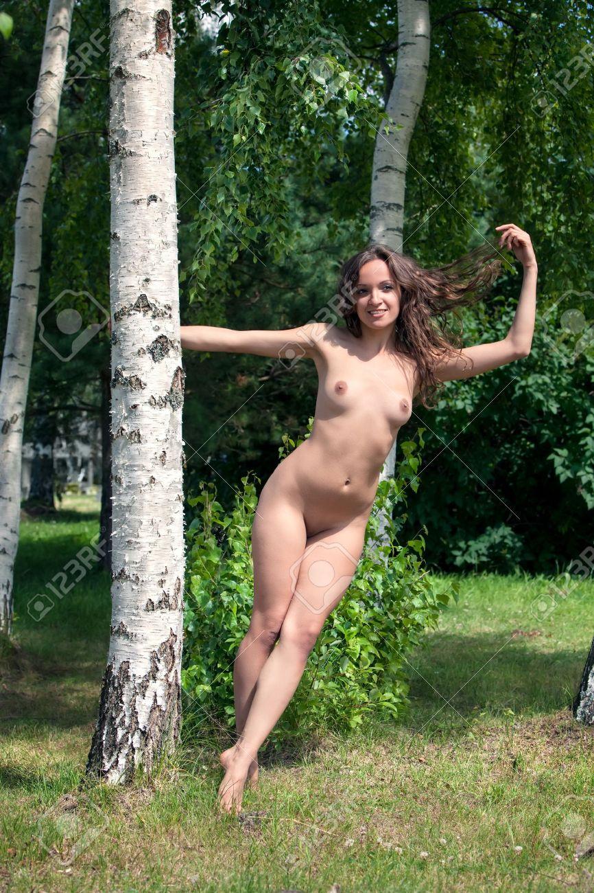 Beautiful nude woman near birch trees Stock Photo - 15782690