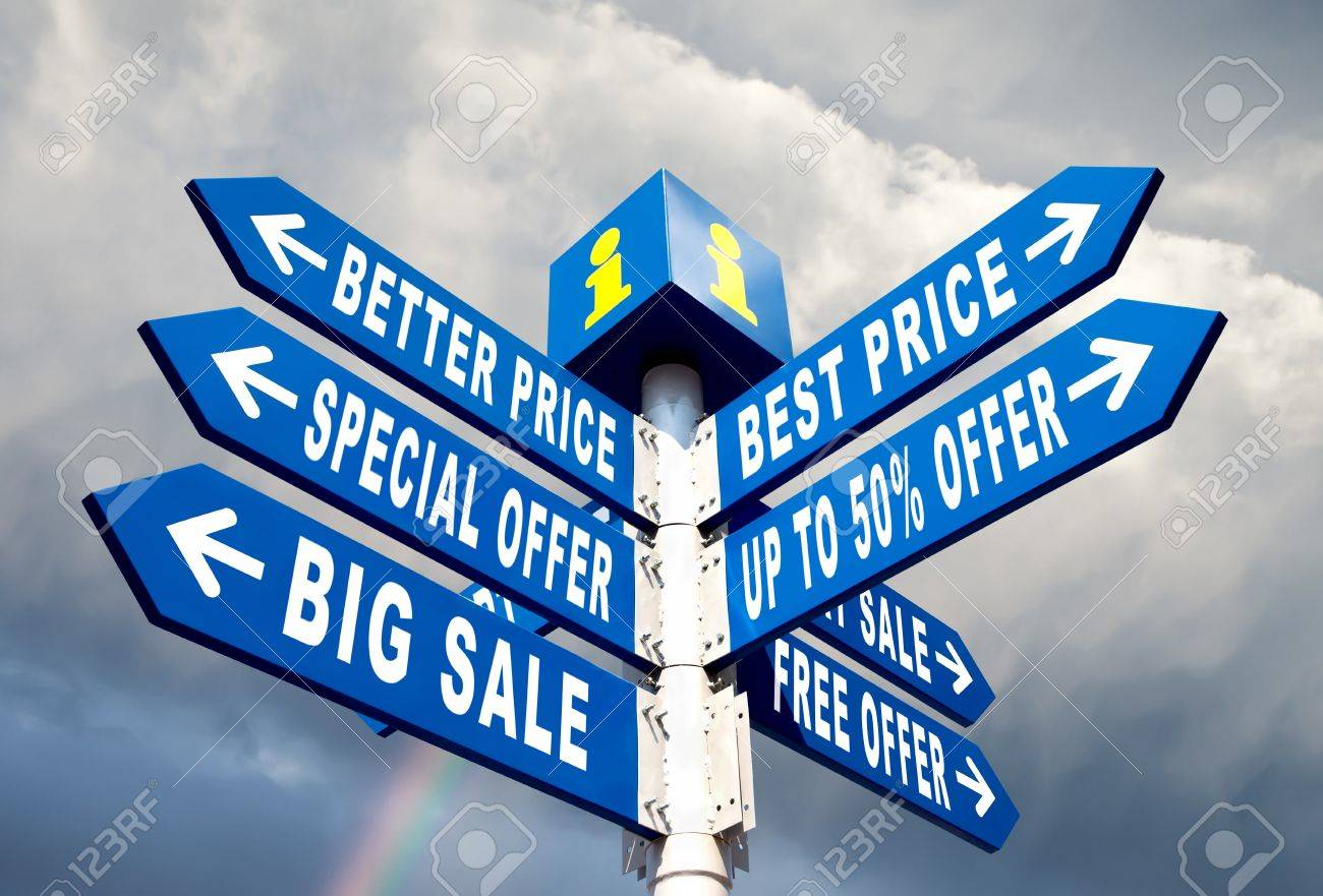 Big Sale, Better Price and Special Offer Directional Road Signs Stock Photo - 15866232