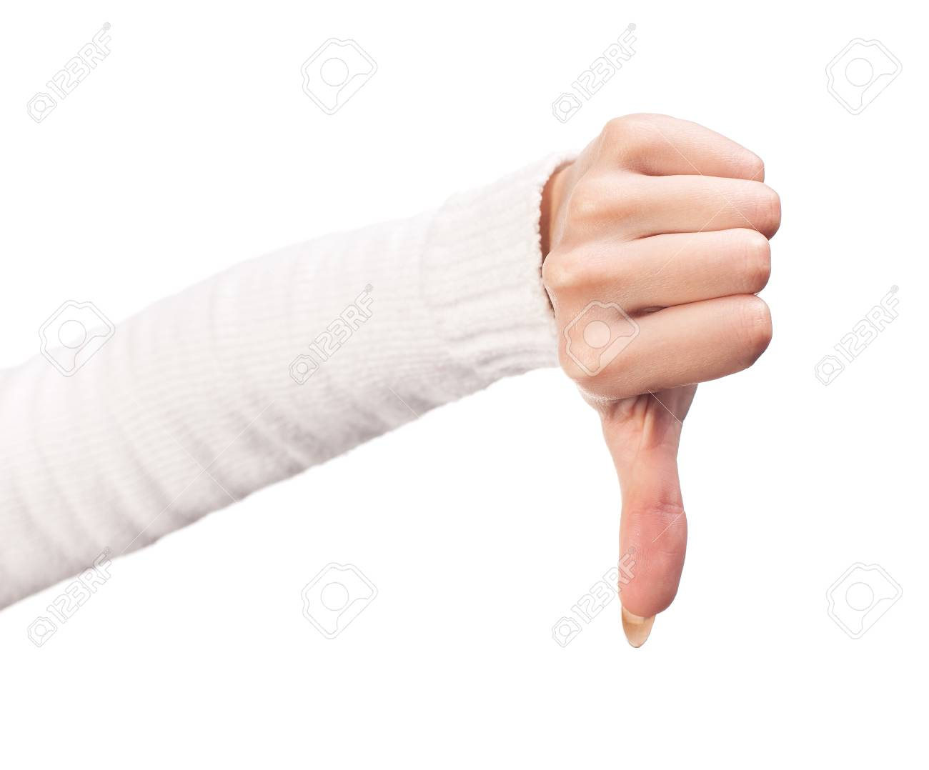 Thumb down female hand sign isolated on a white background Stock Photo - 16921936