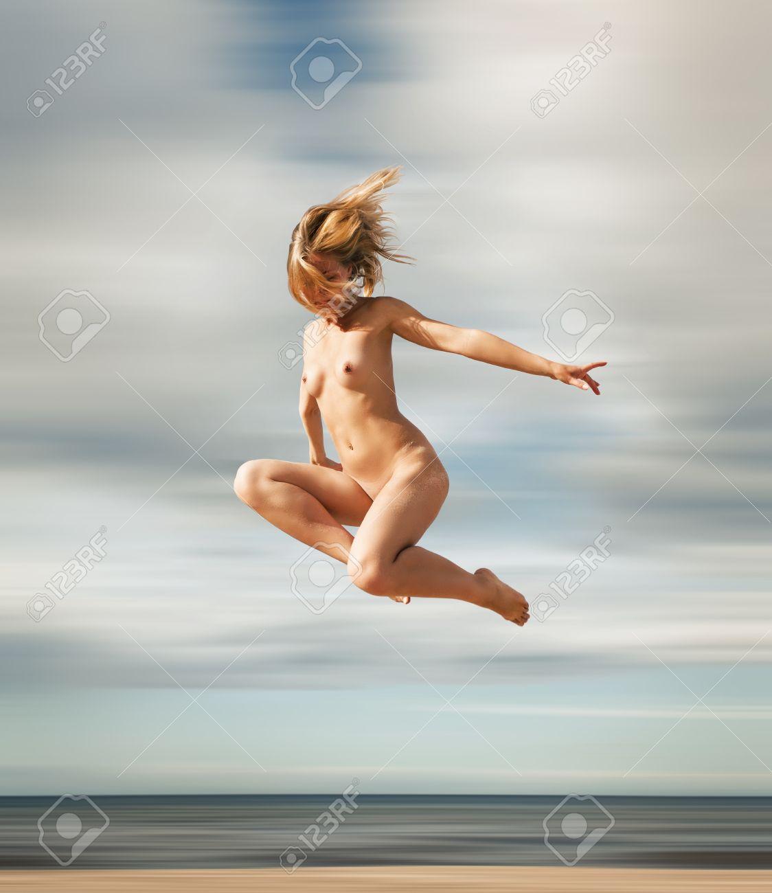 Wife nude jumping