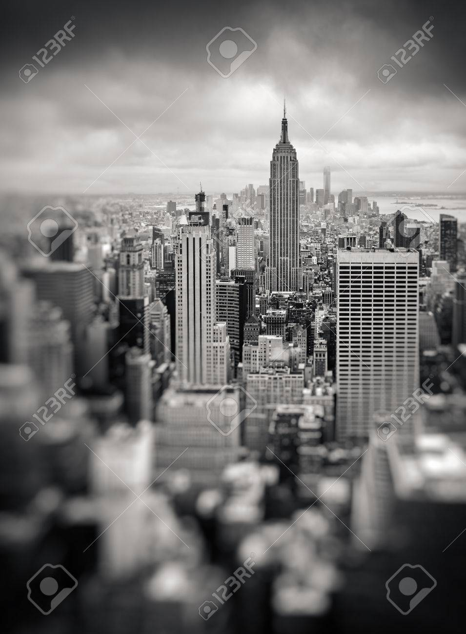 New York City Manhattan Midtown Aerial View With Skyscrapers On An Overcast Day Black And