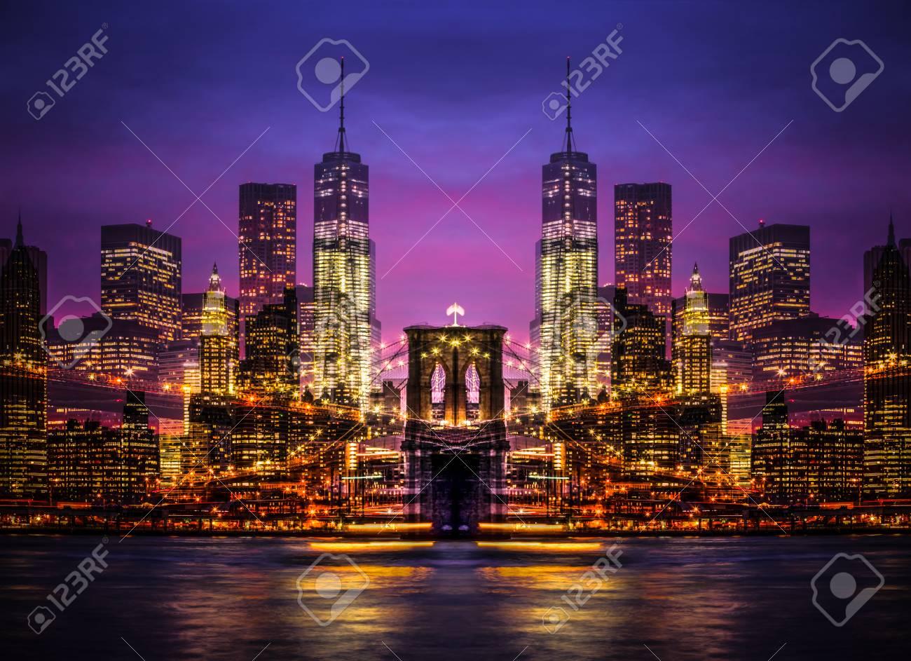 Immagini Stock - Immagine Simmetrica Astratta Di New York. Doppia ...