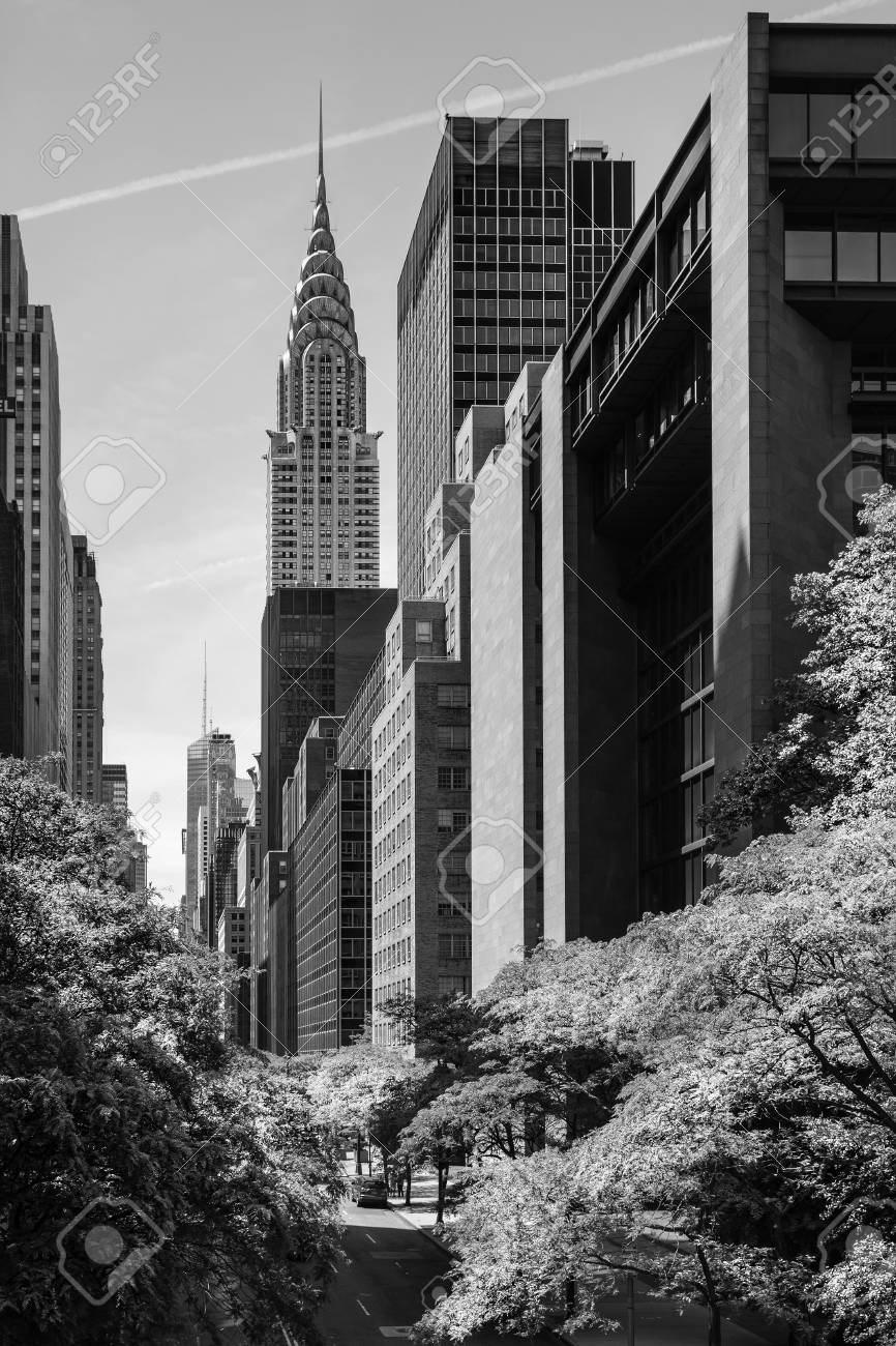 New york usa jun 01 2014 black and white image of chrysler building and manhattan modern architecture manhattan is the most densely populated of the