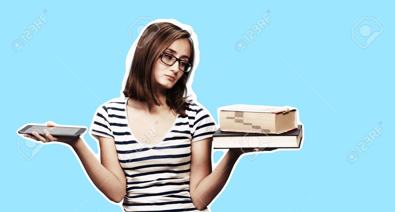 Contemporary Education Concept Book Vs E Book Girl Student