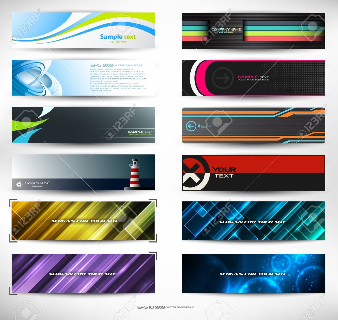 abstract banners for web header (mega set) Stock Vector - 9668077