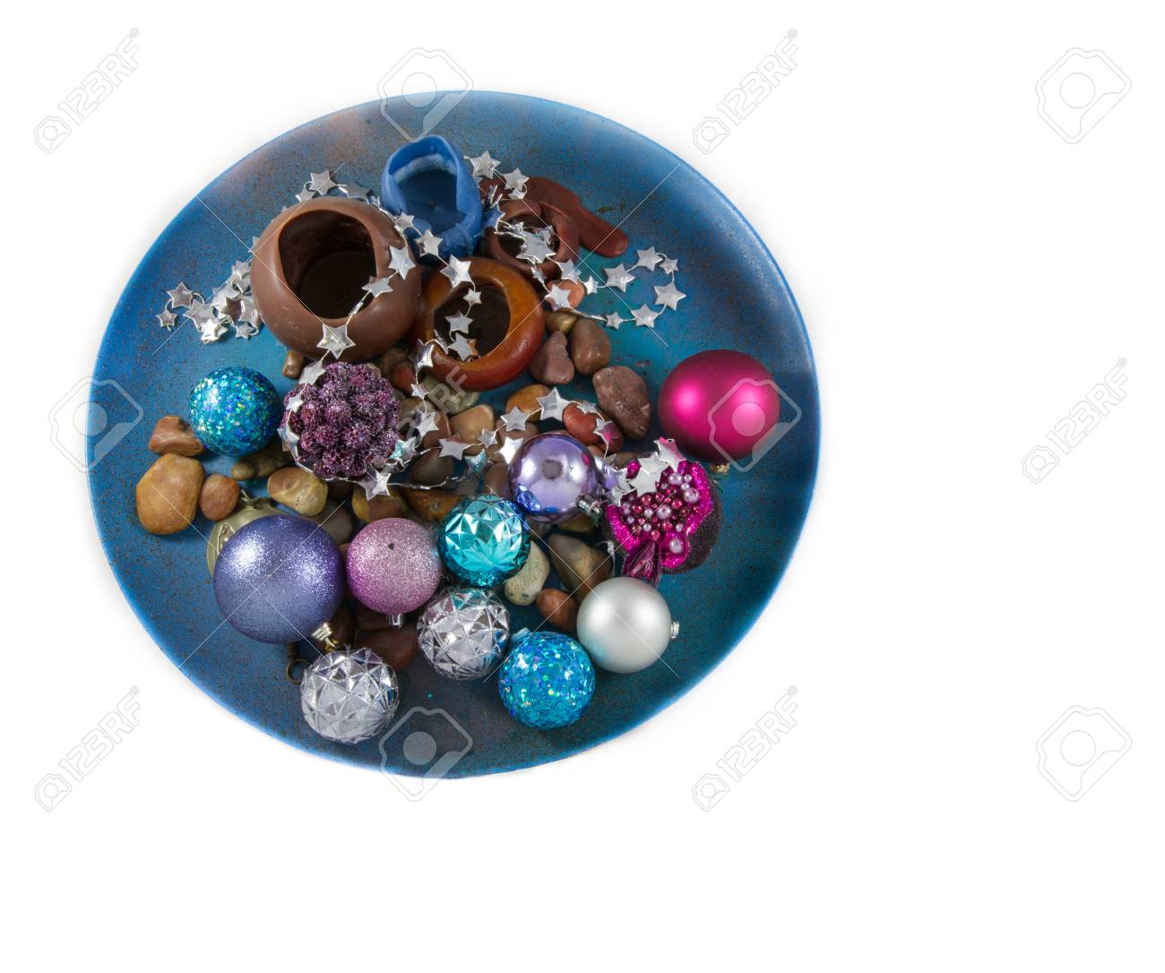 Christmas Decoration In A Plate With Dominant Blue And Purple Colors On White Background Stock