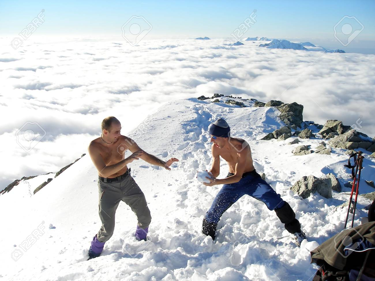 Two happy man on top of mountains Stock Photo - 1320941
