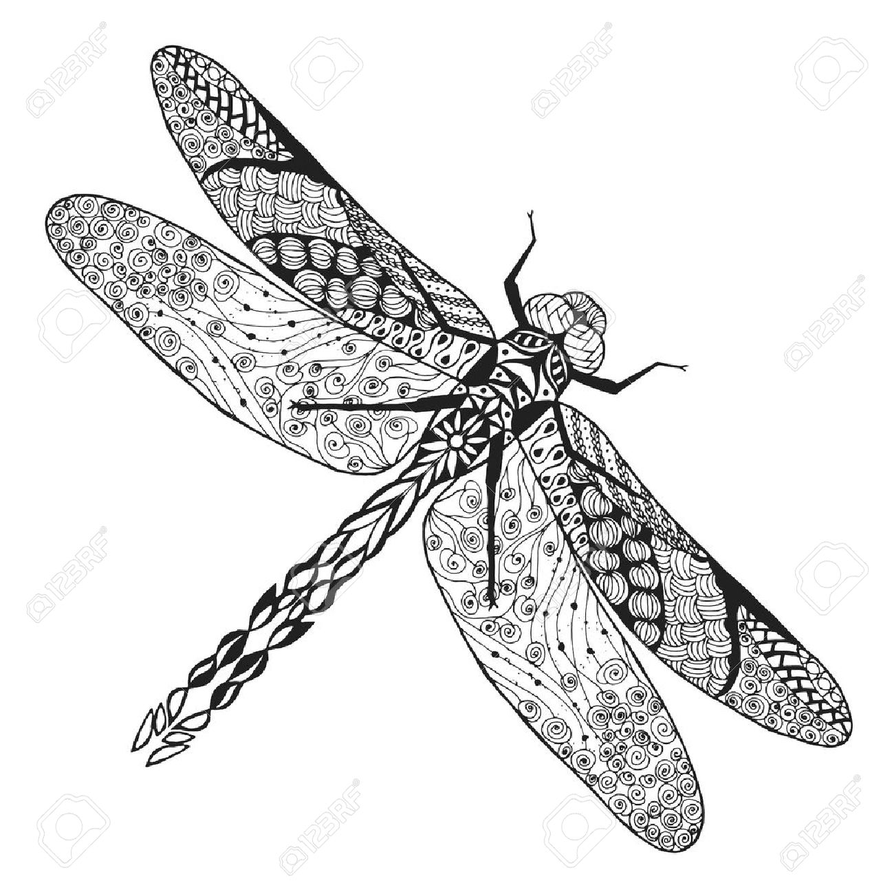 stylized dragonfly Sketch for avatar, posters, prints or t-shirt. Stock Vector - 45251939
