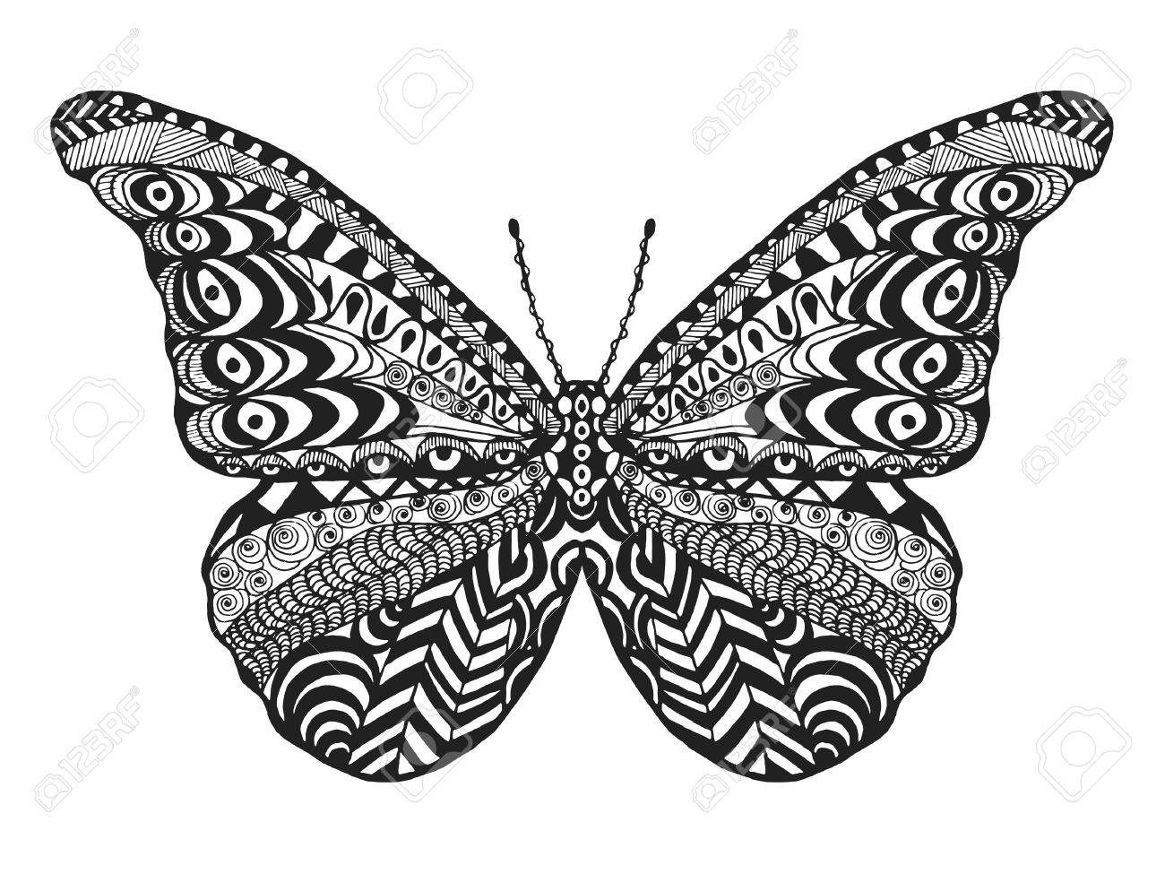 Mariposa Estilizada Zentangle. Mano Blanco Y Negro Dibujado Animales ...