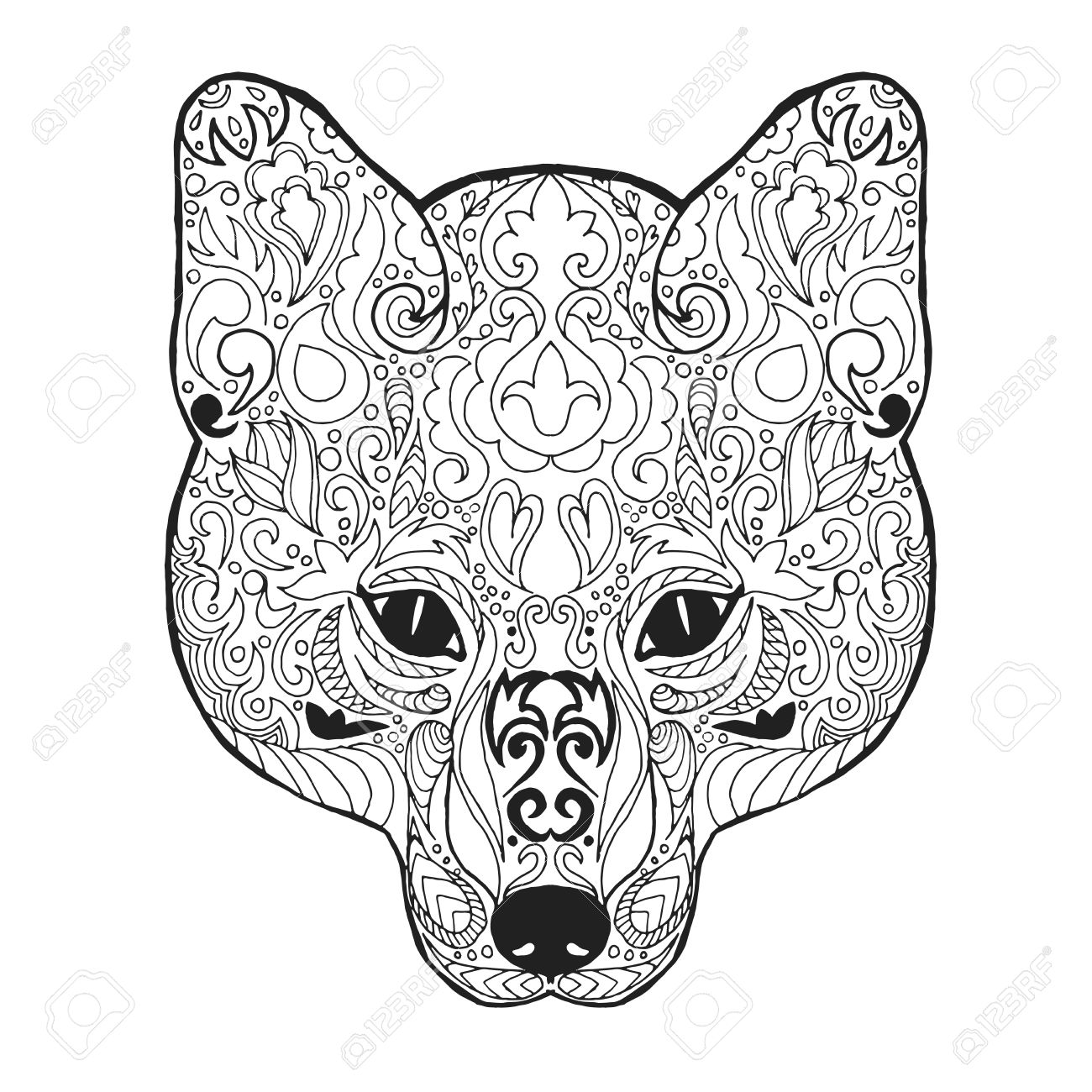 Fox Head Adult Antistress Coloring Page Black White Hand Drawn Royalty Free Cliparts Vectors And Stock Illustration Image 46777613