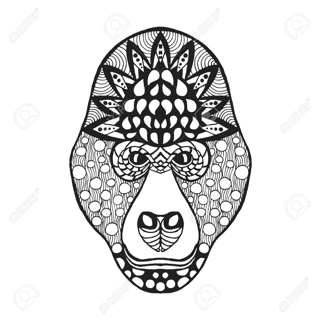 Gorilla Head. Adult Antistress Coloring Page. Black White Hand ...