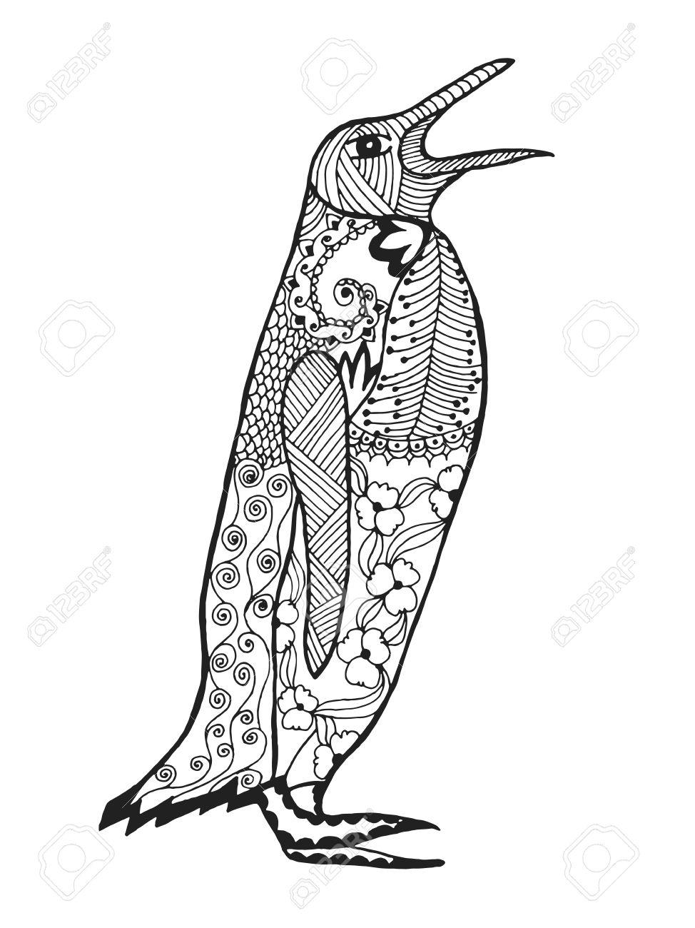 Netter Pinguin Erwachsene Antistress Malvorlagen Schwarz Weiße