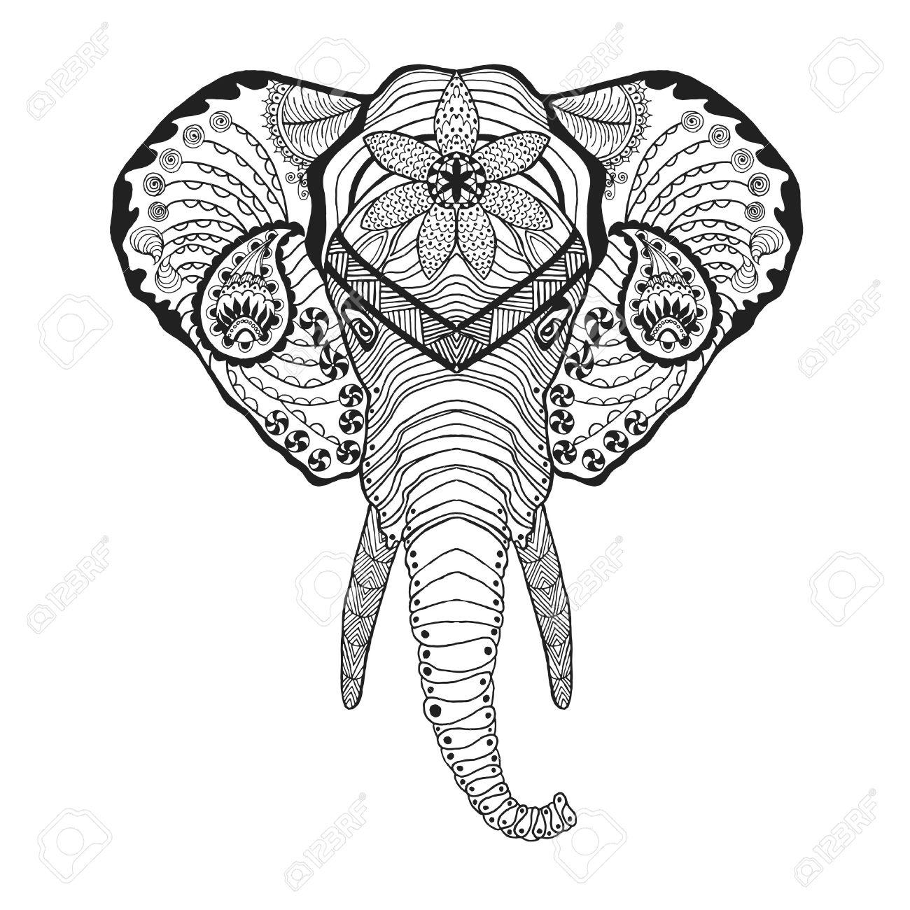 Cabeza De Elefante. Colorear Antiestrés Adultos. Mano Blanco Y Negro ...