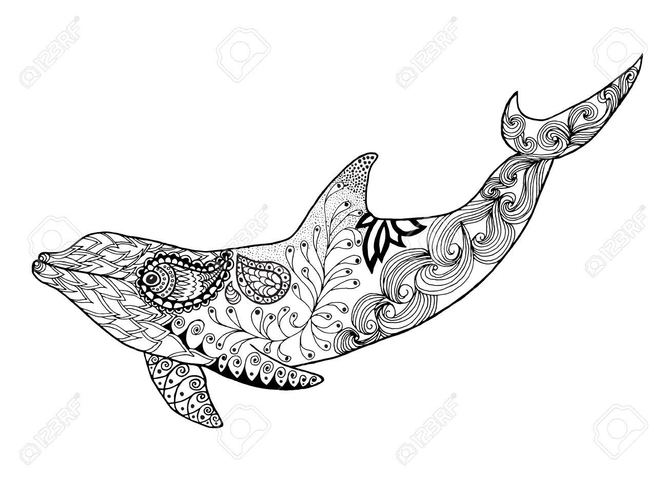 Netter Delphin Erwachsene Antistress Malvorlagen Schwarz Weiße