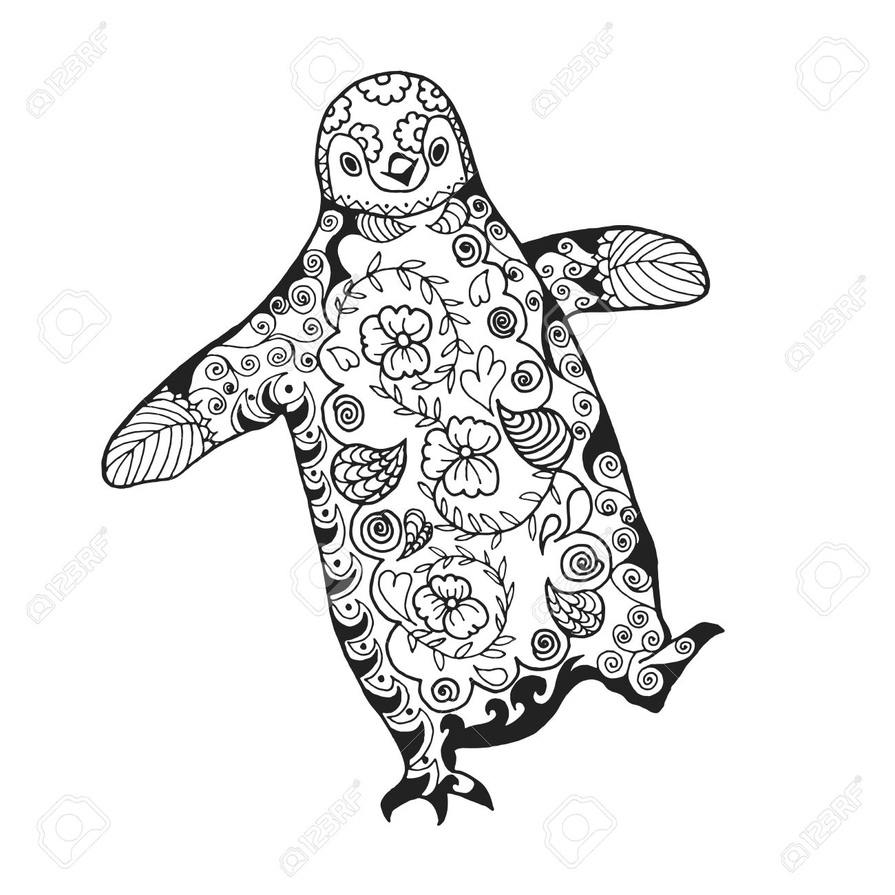 cute penguin antistress coloring page black white hand