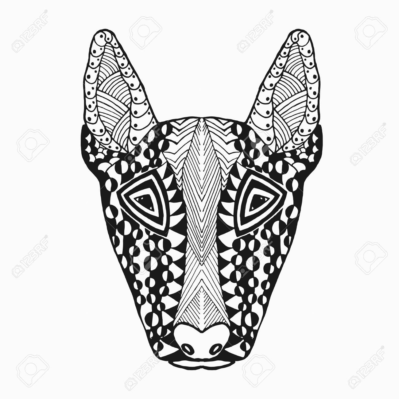 Bullterier. Dibujo Para Colorear. Animales. Dibujado A Mano Del ...