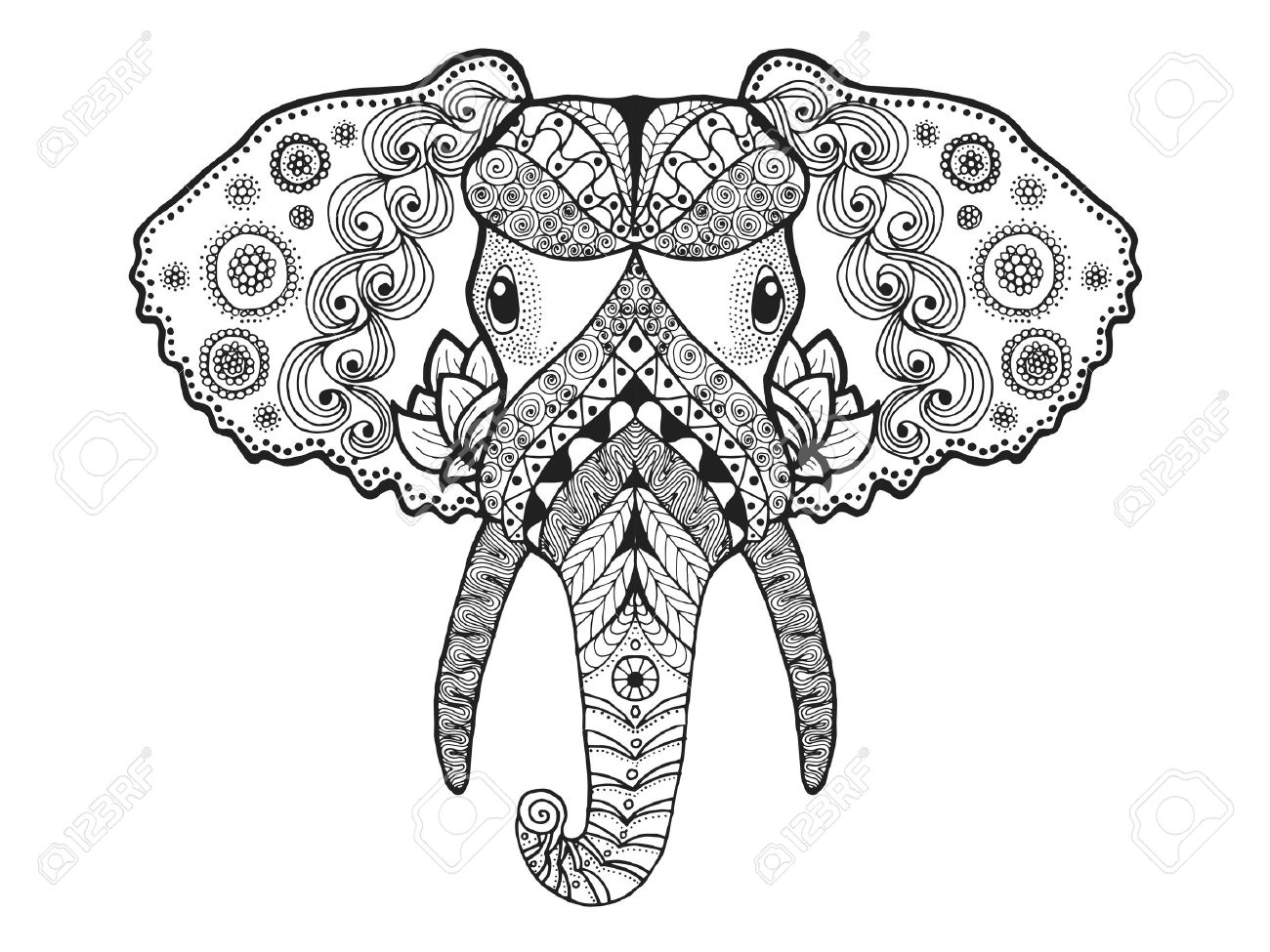 Adult Antistress Coloring Page. Black White Hand Drawn Doodle Animal ...