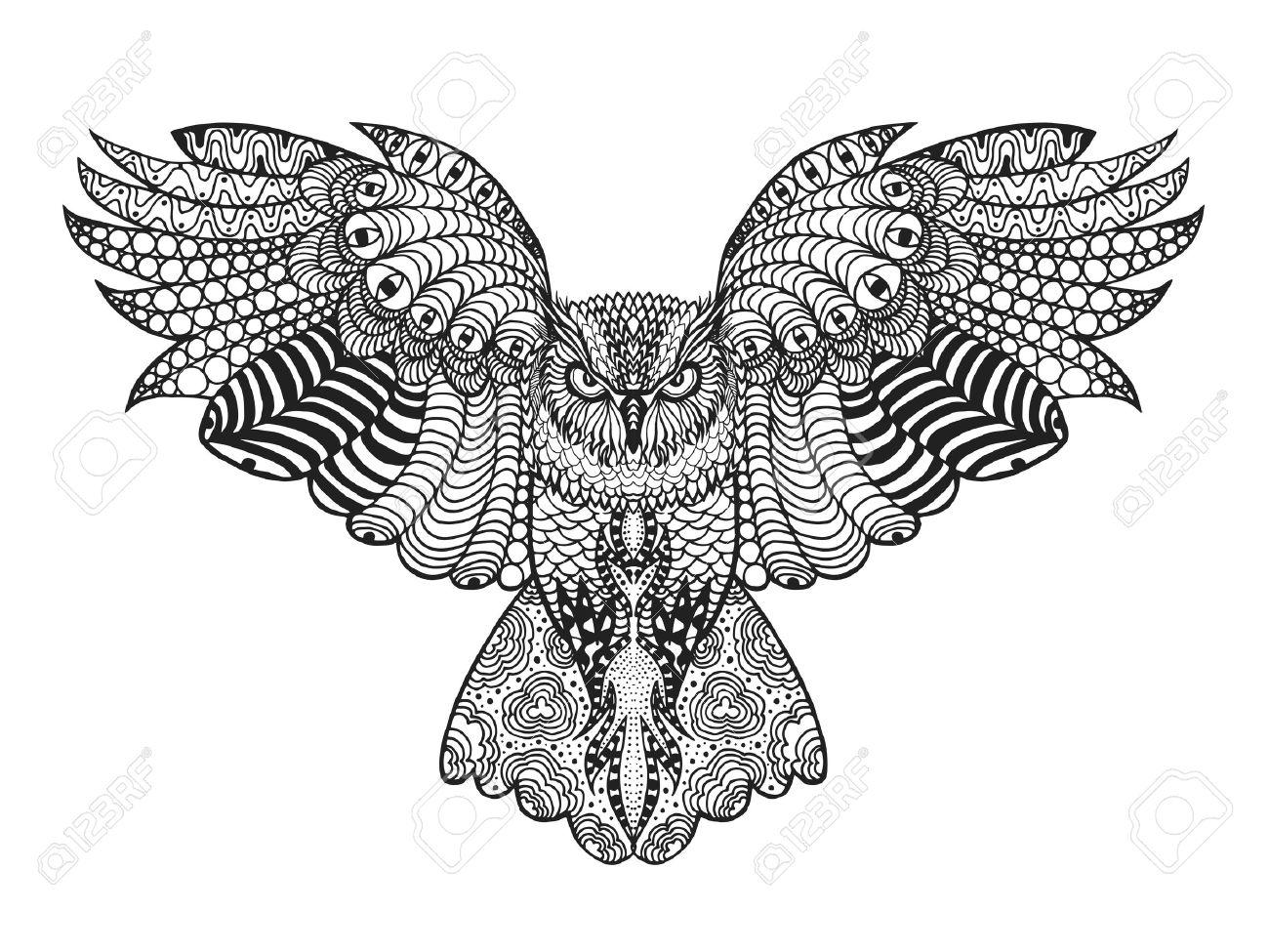 Birds. Mano Blanco Y Negro Dibujado Garabato. Étnico Ilustración ...