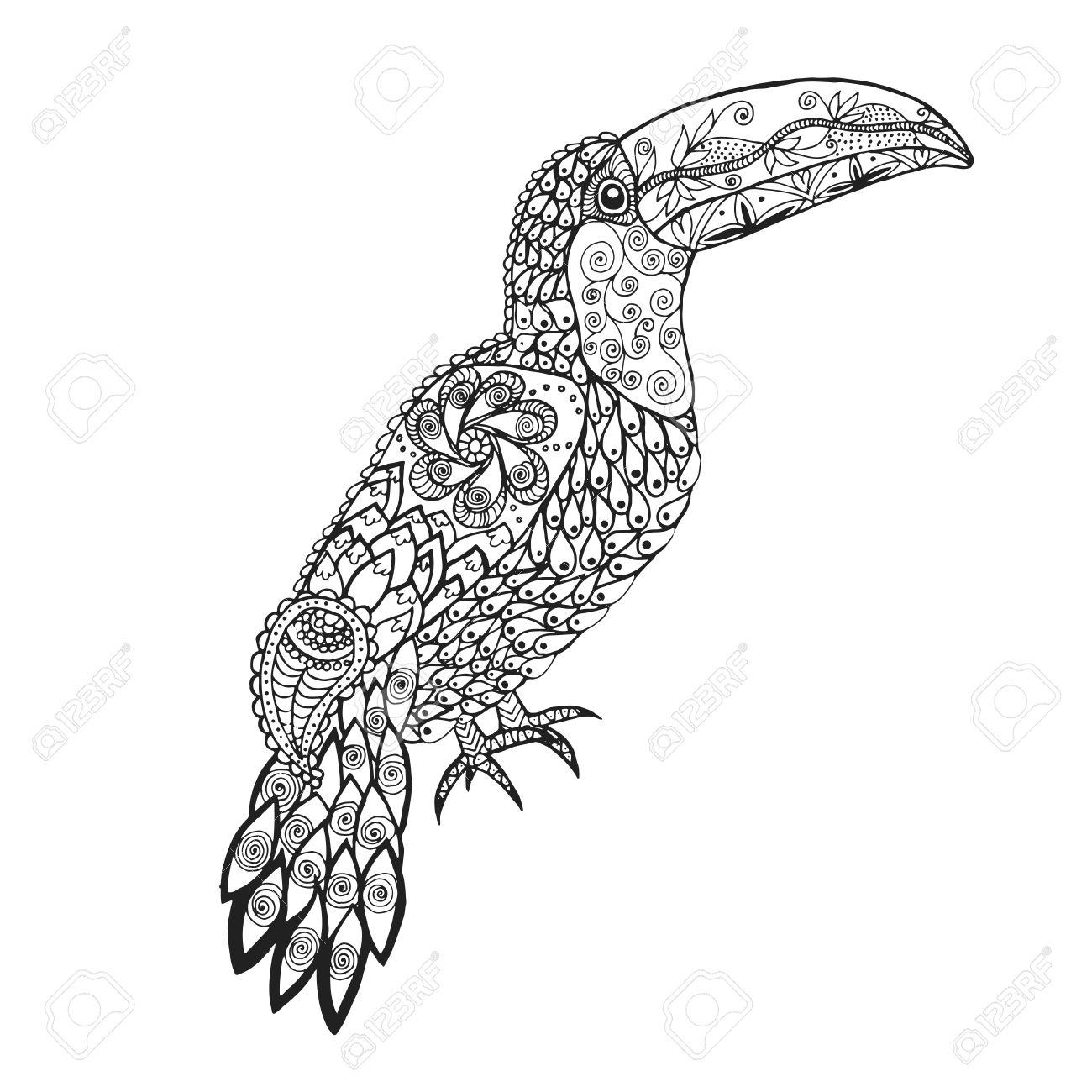 Birds. Mano Blanco Y Negro Dibujado Garabato. Adulto Página Para ...