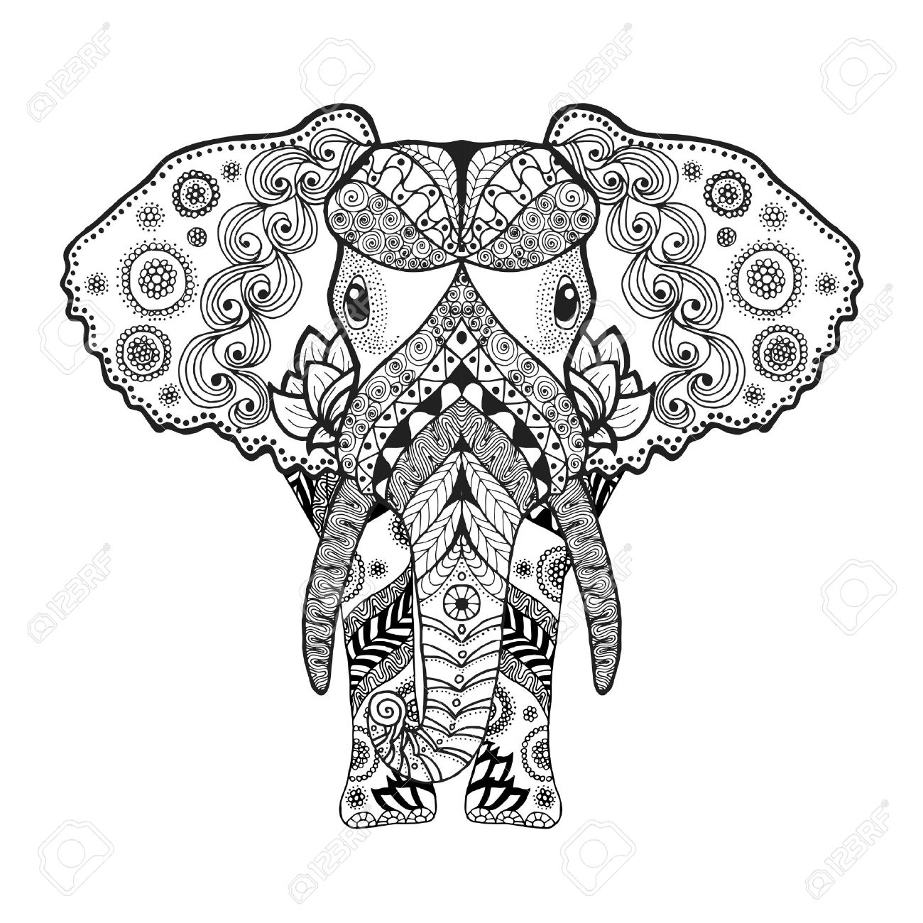 antistress coloring page black white hand drawn doodle