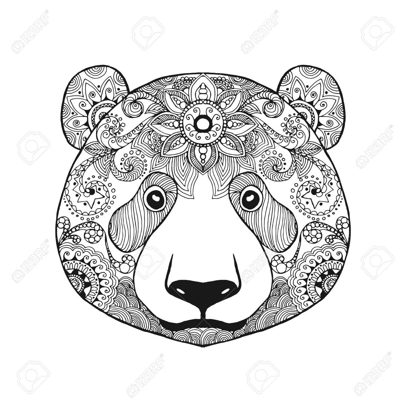 Niedlichen Pandabären. Schwarz-weiße Hand Gezeichnet Doodle Tier ...
