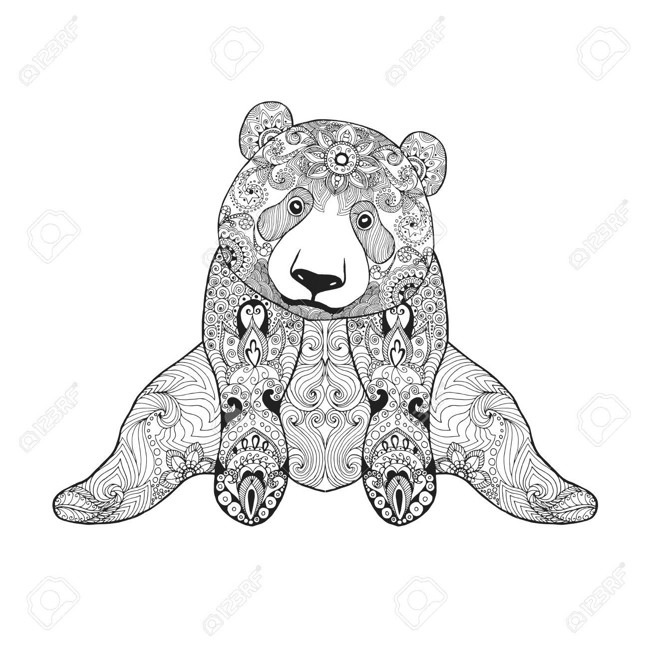 Oso De Panda Lindo. Mano Blanco Y Negro Dibujado Animales Garabato ...