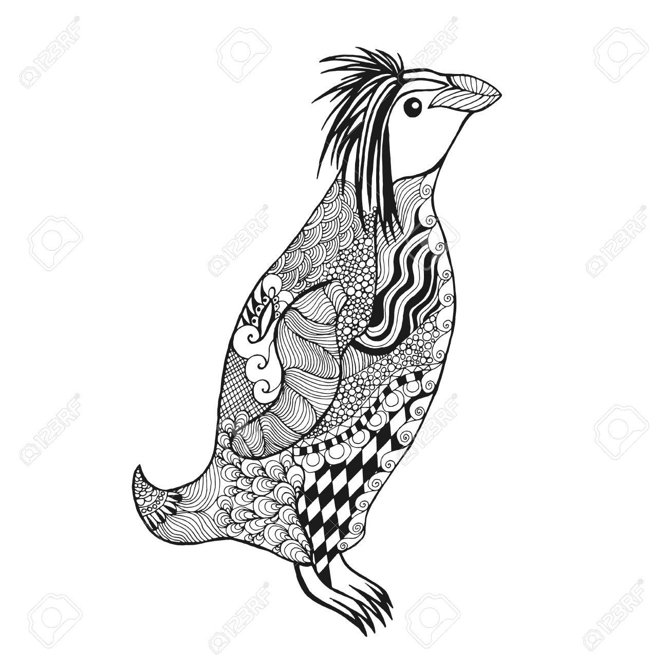 penguin antistress coloring page black white hand drawn