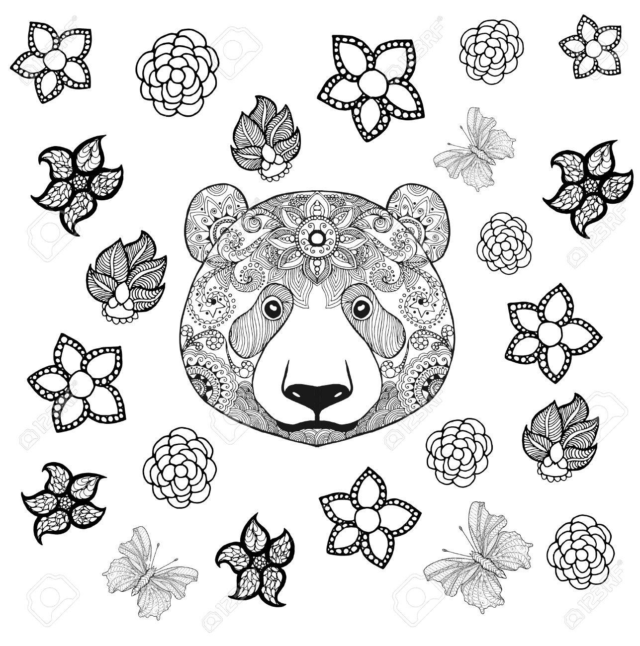 Flower Panda Coloring Page Royalty Free Cliparts Vectors And Stock