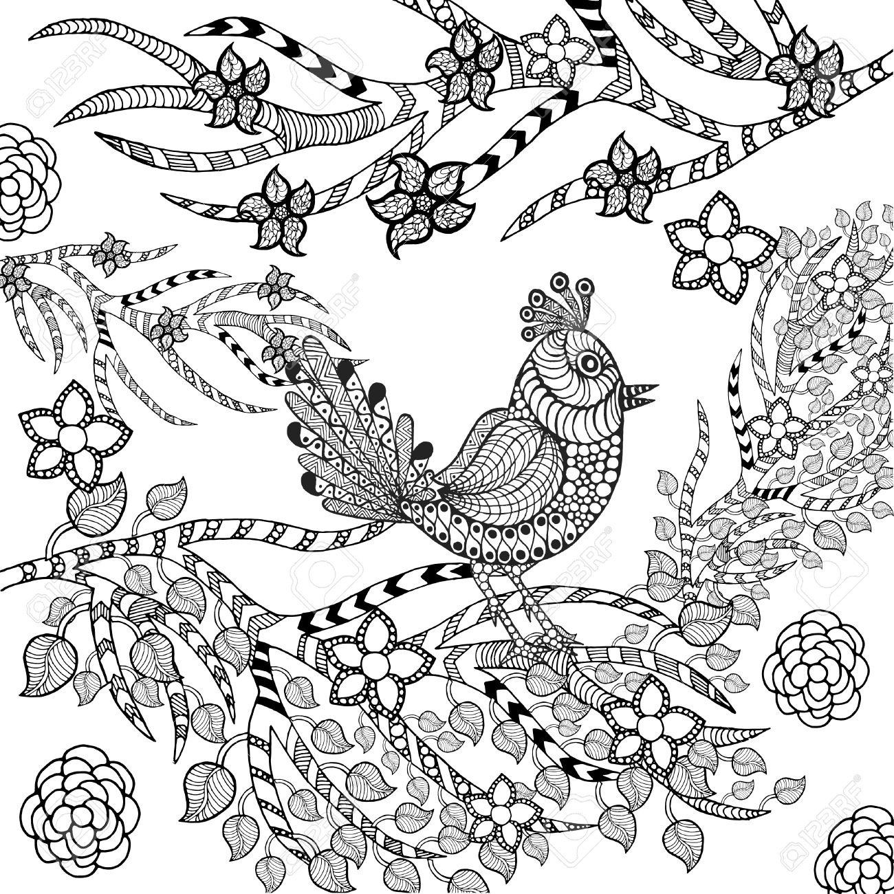 Tropical Bird In Flower Garden. Animals. Hand Drawn Doodle. Ethnic on flower bed designs, butterfly tattoo designs, flower garden back tattoo, sunflower tattoo designs, plants tattoo designs, vintage flower tattoo designs, flower tattoo ideas, zen garden tattoo designs, aces up tattoo designs, daisy tattoo designs, flower tattoos for women, flower collage tattoo designs, gladiolus garden tattoo designs, martha tattoo designs, swimming pool tattoo designs, carpenter tattoo designs, tropical flower tattoo designs, desert flower tattoo designs, spring flower tattoo designs, deuces tattoo designs,