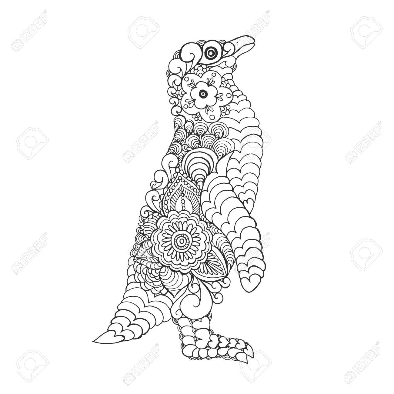 stylized cute penguin antistress coloring page black