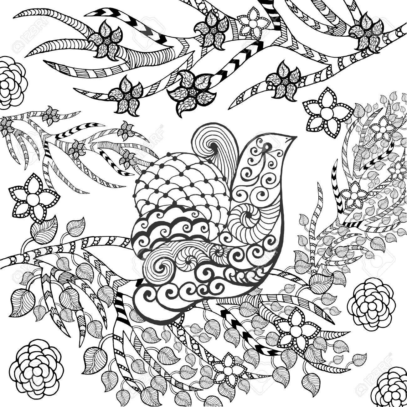 フラワー ガーデンのかわいい鳥。動物。手描き落書き。民族模様の