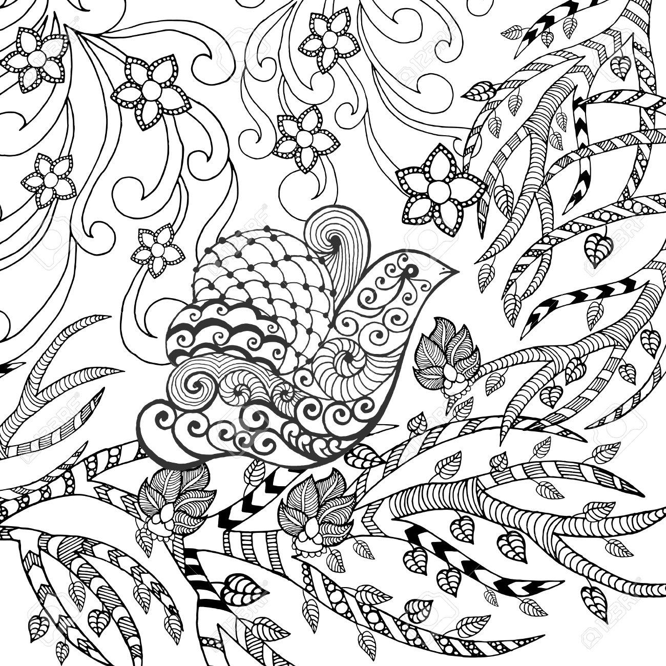 bird in giardino fiorito. animali. a mano doodle. etnico ... - Giardino Fiorito Disegno