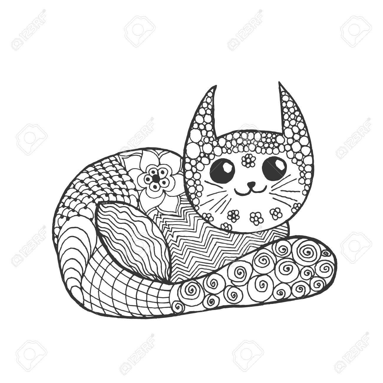 Süße Kätzchen. Schwarz-weiße Hand Doodle Tier Gezogen. Ethnische ...