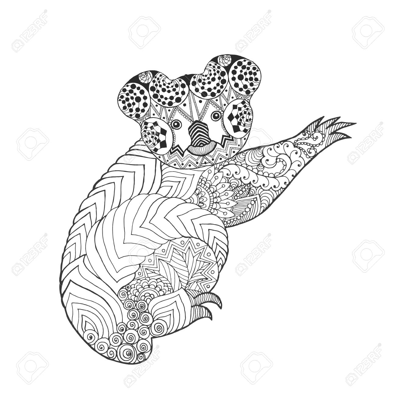 Koala Stylise Main Blanche Noire Dessinee Animale Doodle Ethnique