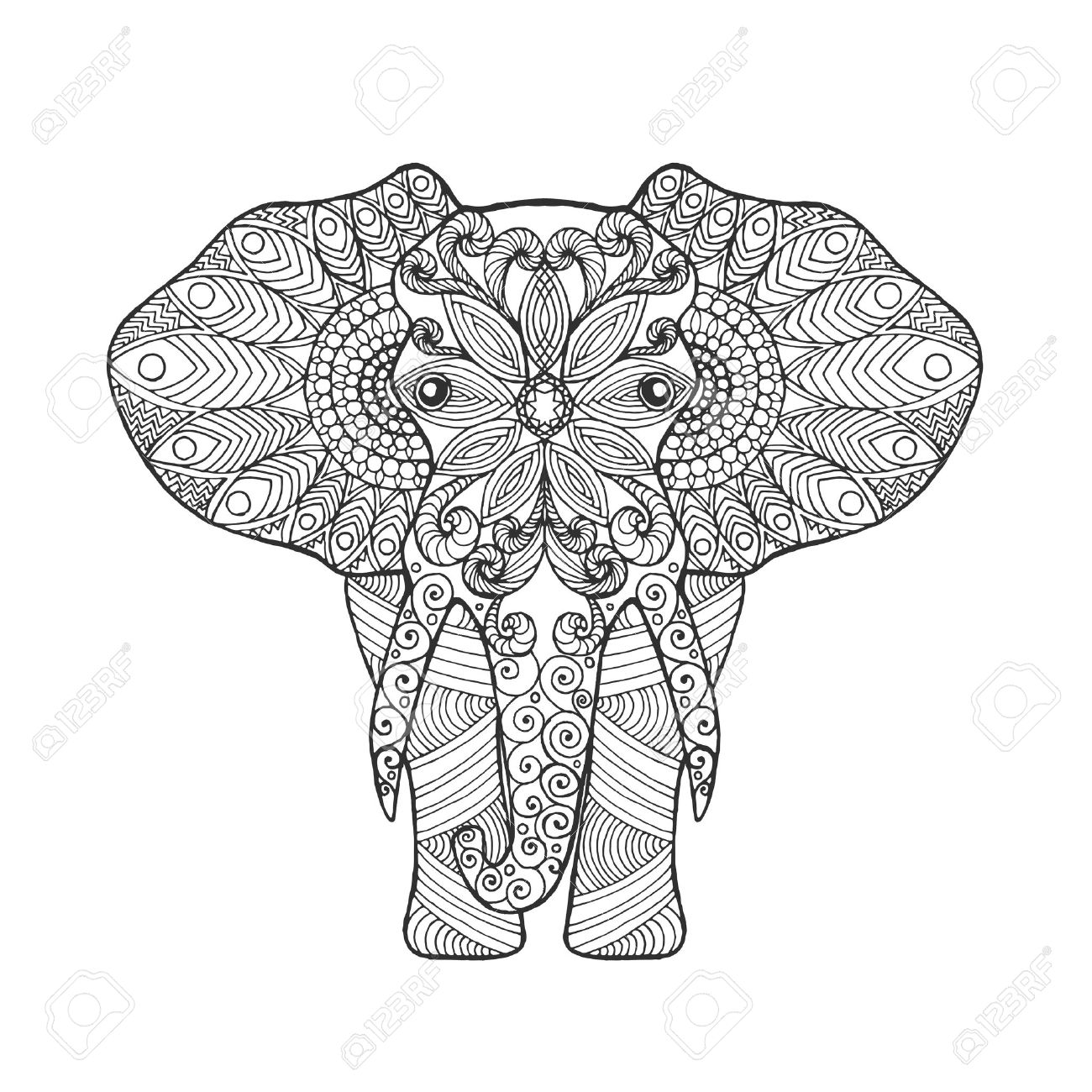 elephant adult antistress coloring page black white hand drawn doodle animal ethnic patterned - Coloring Page Elephant Design